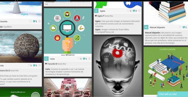 Creación colaborativa de imágenes y frases a partir de la consigna de buscar una imagen conceptual que represente el vínculo entre la cultura digital, la educación y el rol docente. ¿Cómo se ve interpelado nuestro rol docente en este nuevo escenario de tecnologías en red?